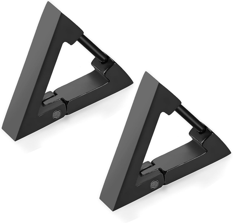 Flongo Men's Women Punk Black Stainless Steel Triangle Shape Design Hoop Earrings