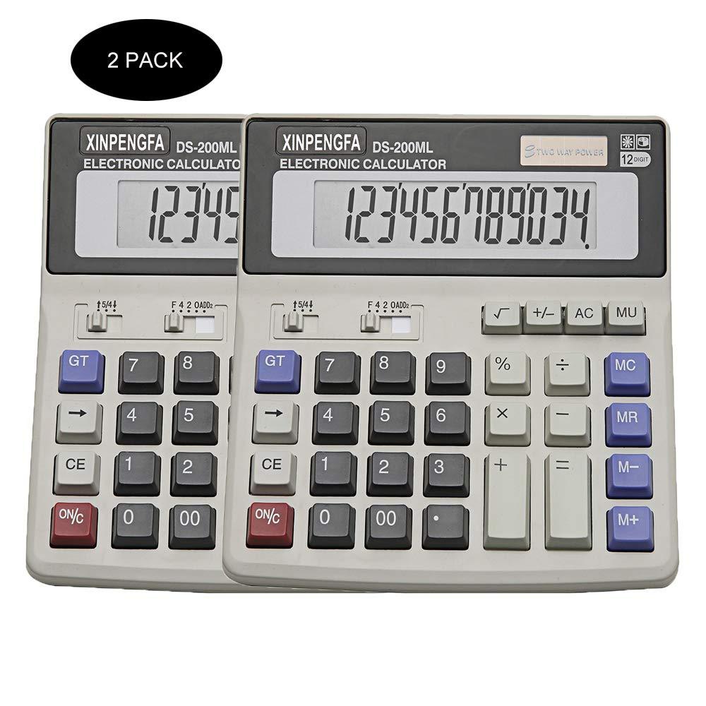 XINPENGFA Desktop Office Calculator 12 Digit Display and Big Button, Basic Business Calculator(Pack of 2) by XINPENGFA