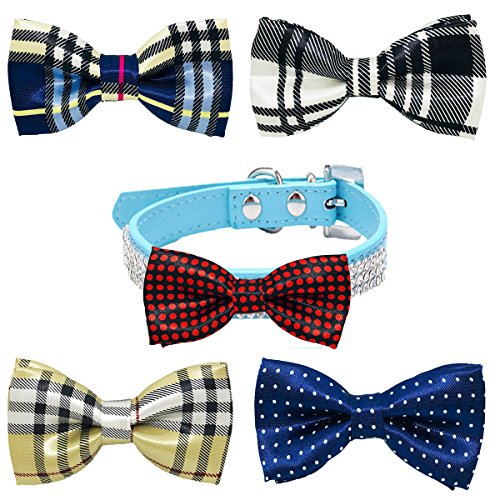 Accessory Bow Tie (PET SHOW Pet Small Dogs Collar Attachment Bow Ties Puppies Cats Collar Charms Accessories Slides Bowties for Birthday Wedding Parties Assorted A Style Assorted B Styles Pack of 5)