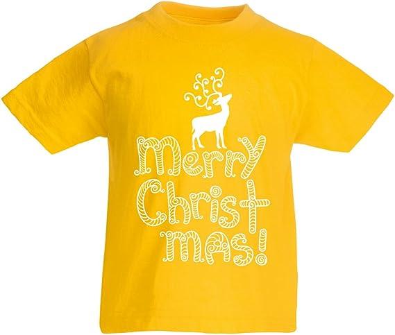 lepni.me Camiseta para Niño/Niña Feliz Navidad - Reno de Papá Noel - Rodolfo de Nariz roja: Amazon.es: Ropa y accesorios