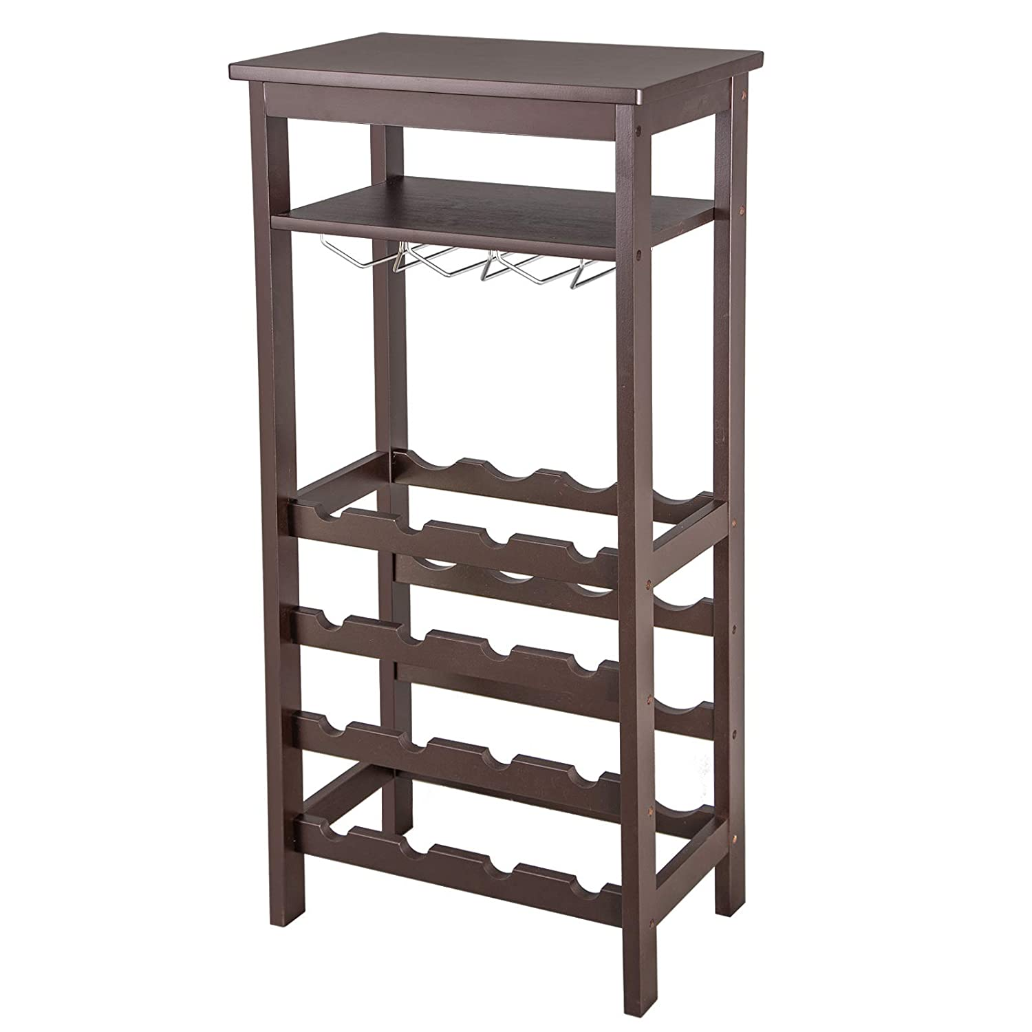 Smartxchoices 16 Bottle Wine Rack with Glass Holder and Tabletop, Bamboo Wine Bottle Shelf Free Standing Floor Wine Storage Holder Display Shelves (Bamboo, Espresso)