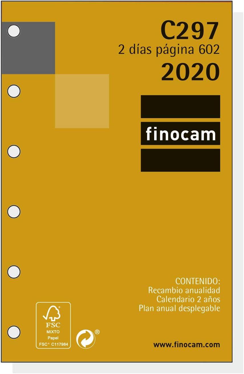 Finocam - Recambio Anual 2020 2 días página Classic C297 español, 602-73x114 mm