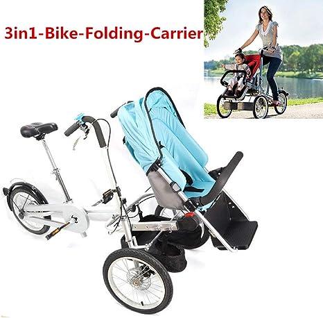 Triciclo 3 en 1 Cochecito Plegable Cochecito de bicicleta para niños Bicycle Portátil Baby Stroller: Amazon.es: Bebé