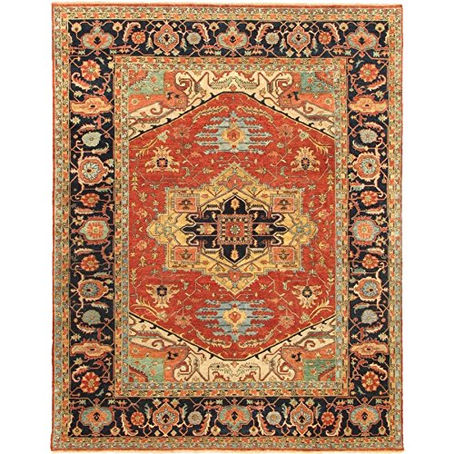 Pasargad Carpets 42399 Serapi Collection Hand-Knotted Rust & Navy Lamb's Wool Area Rug, 8' x (Serapi Carpet)