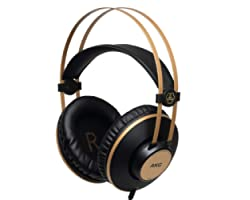 Fones de Ouvido AKG Pro Audio K92 circum-auricular, fechado atrás, estúdio, preto fosco e dourado