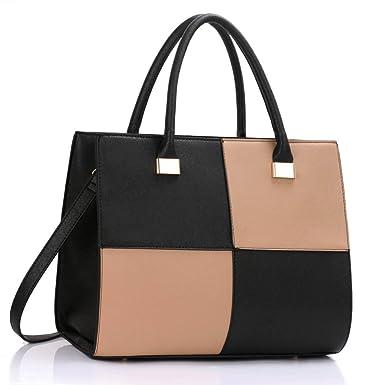 LeahWard Ladies Women s Fashion Designer Quality Chic Tote Bags Handbags  CWS00153L (BLACK NUDE) aa2251e41cd71