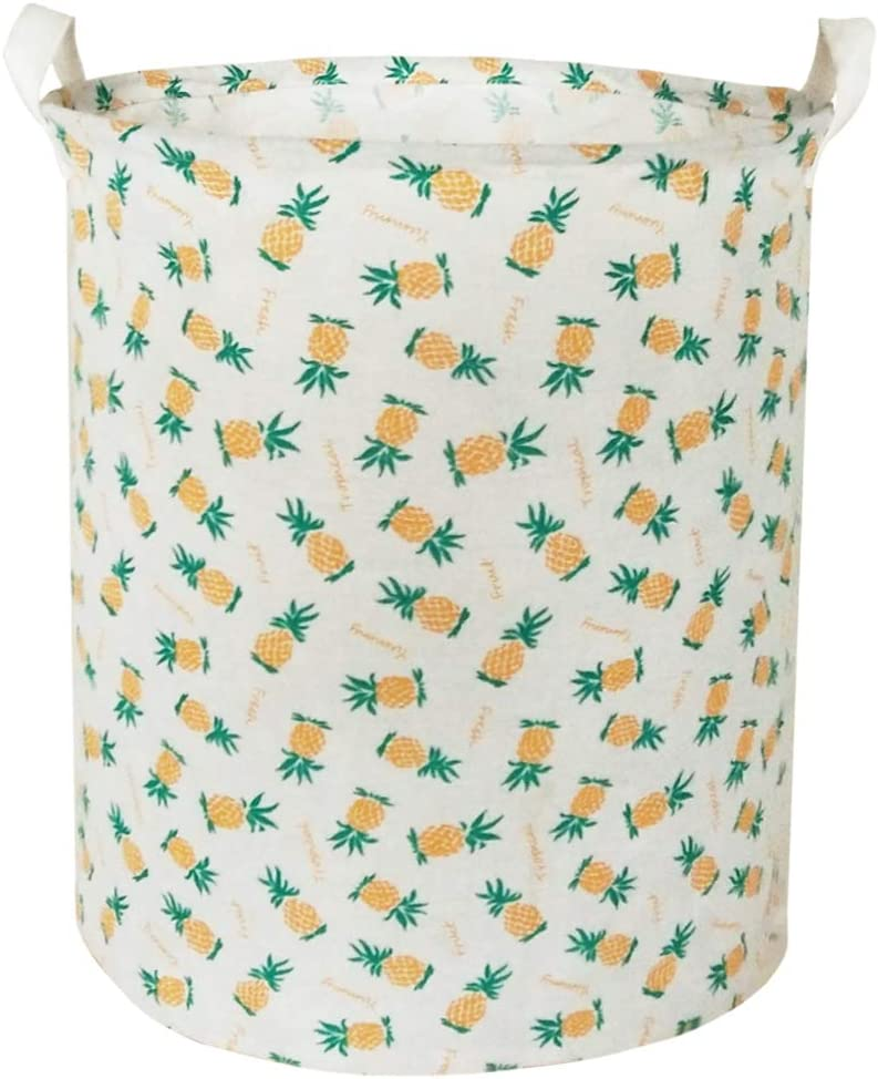 BOOHIT Cotton Fabric Storage Bin,Collapsible Laundry Basket-Waterproof Large Storage Baskets,Toy Organizer,Home Decor (Pineapple)