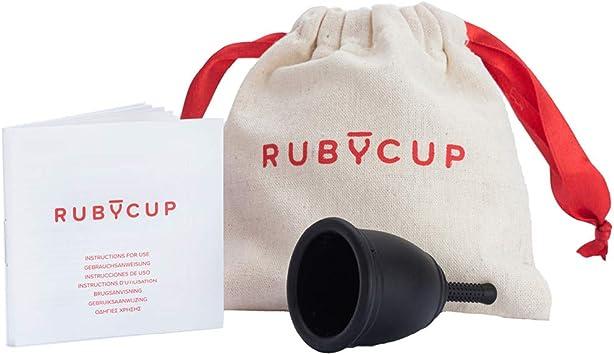 Ruby Cup - Copa menstrual hipoalergenica- talla M (grande, flujo abundante) – NEGRA – Incluye donación de copa. Perfecta para principiantes. Una ...
