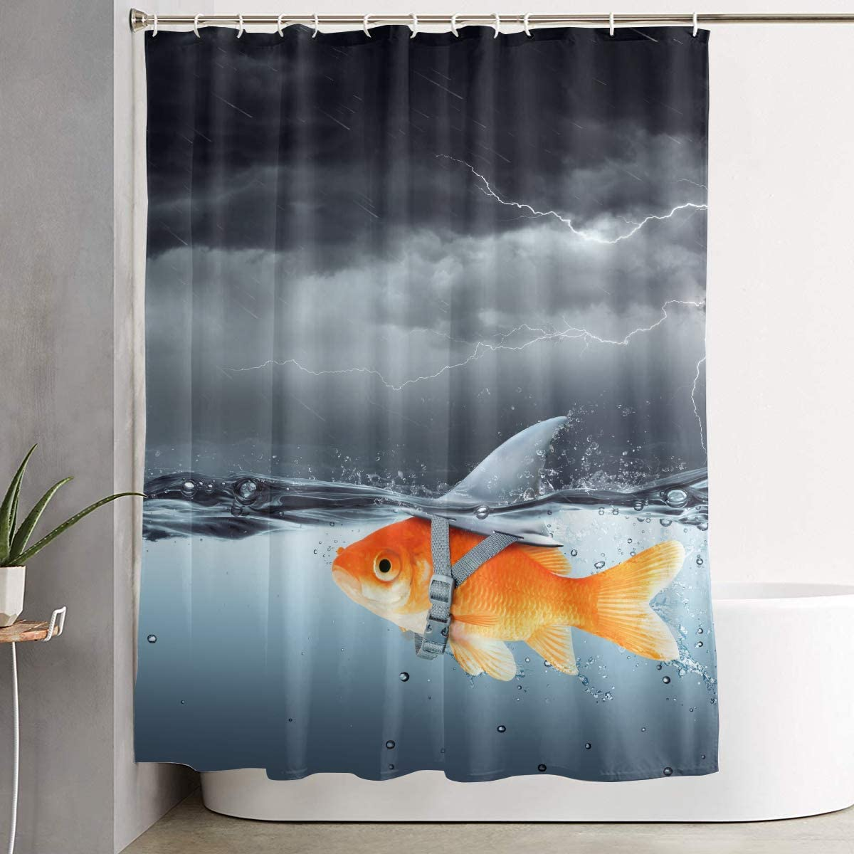 Jianyue Goldfish Shark Fin Bathroom Grey Shower Curtain,Bathroom Curtains Sets with Hooks Shower Bath Curtain for Bathroom,Polyester Bathroom Shower Curtain