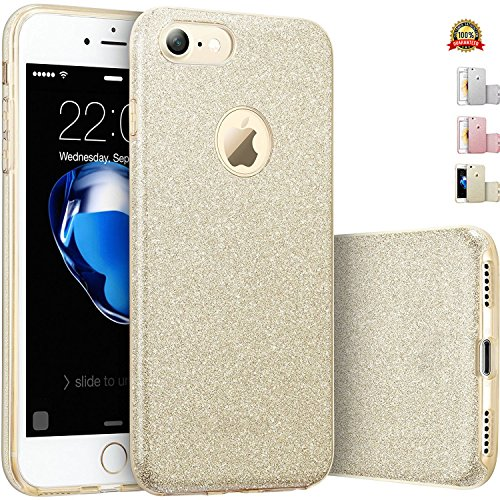iPhone 7 Glitter Case Gold Silicone with [Tempered Glass Screen Protector] Slim Shockproof Protective Thin Design Bling Case for Apple 4.7 Inch Cellphone TPU Soft Gel [Neo Hybrid] Full Body Sparkly