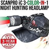 Wicked Lights ScanPro iC 3-Color-In-1 (Green, Red, White LED) Night Hunting Headlamp Kit With Intensity Control for Coyote, Predator, Varmint & Hogs