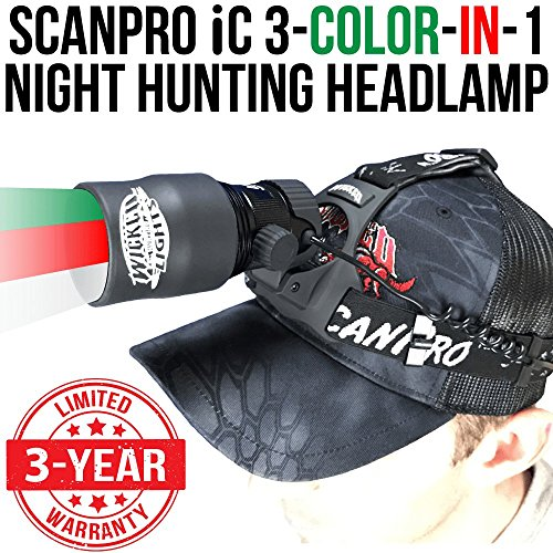 Wicked Lights ScanPro iC 3-Color-in-1 (Green, Red, White LED) Night Hunting Headlamp Kit with Intensity Control for Coyote, Predator, Varmint & Hogs (Best Headlamp For Hunting)