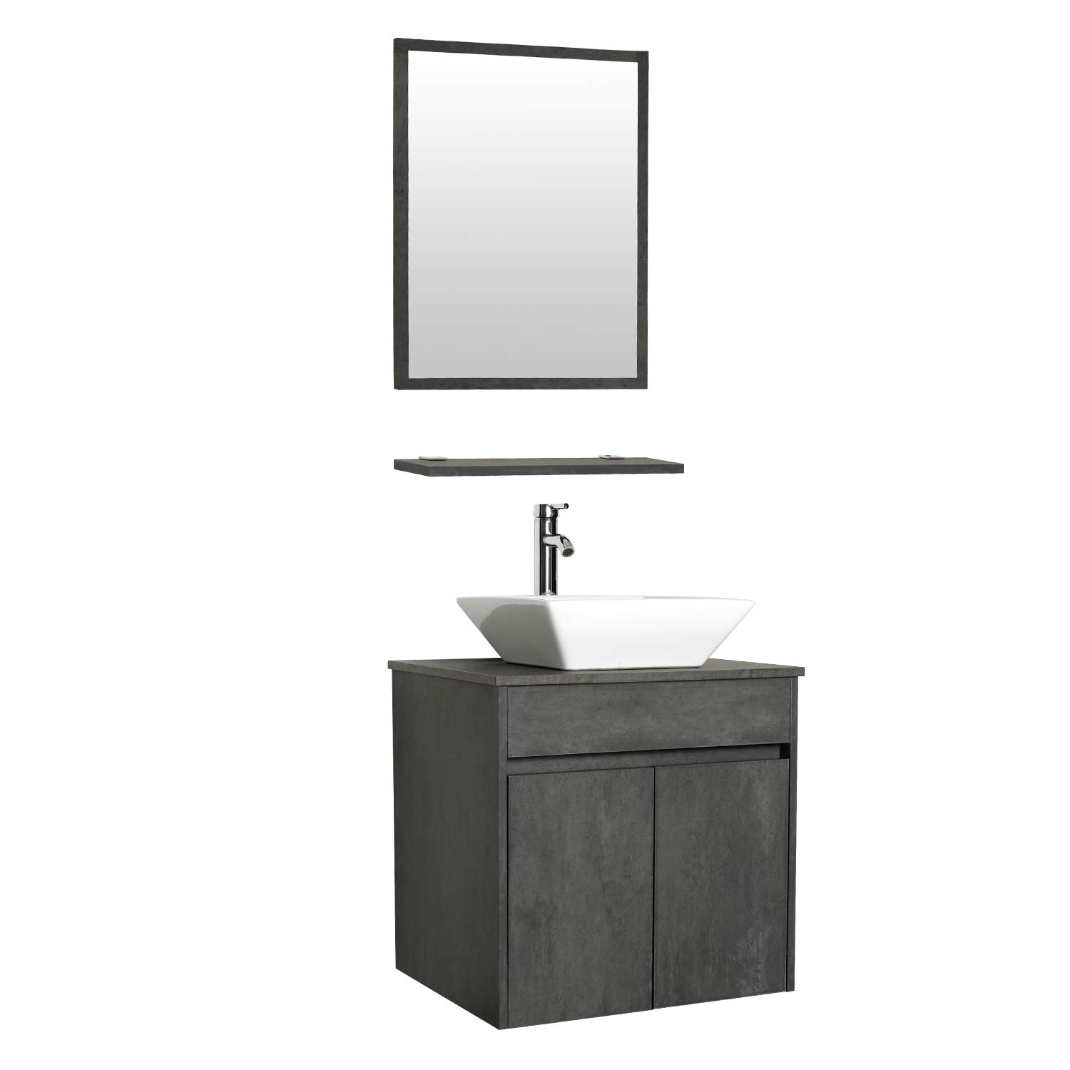 eclife 24 Bathroom Vanity Sink Combo Wall Mounted Concrete Grey Cabinet Vanity Set Square White Ceramic Vessel Sink Top, W Chrome Faucet, Pop Up Drain Mirror A07E03CC