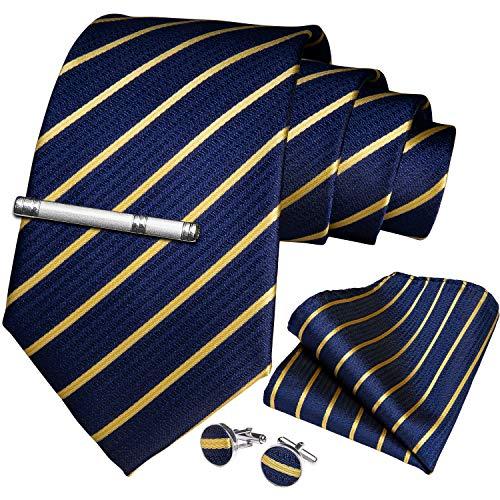 DiBanGu Men's Silk Tie and Handkerchief Woven Stripe Necktie Cufflink Set Business - Stripes Mens Necktie