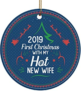 VinMea Christmas Ornaments Keepsake for Xmas Holiday Party 2019 First Christmas with My Hot New Wife 2019 Decorative Christmas Circle Ornament-Just Married ORN