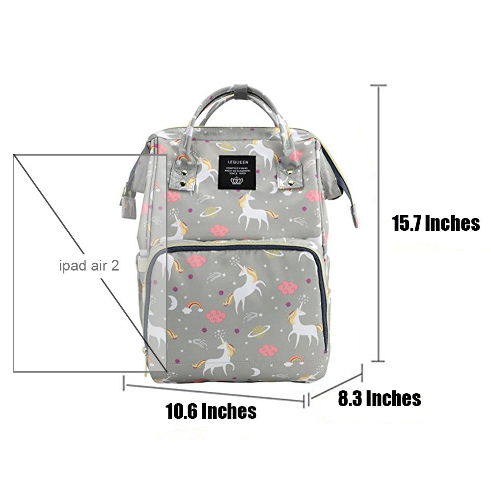 Pink Unicorn Print YIMOJI Baby Diaper Bags Multi-Function Waterproof Travel Backpack Nappy Tote Bags for Baby Care Large Capacity