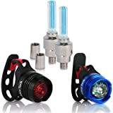 Bike Light Front and Rear Aluminum LED Bike Light Set 2 Valve Wheels Lights - 2 Waterproof High Intensity Multi-Purpose Rear Bike Light for Bicycle