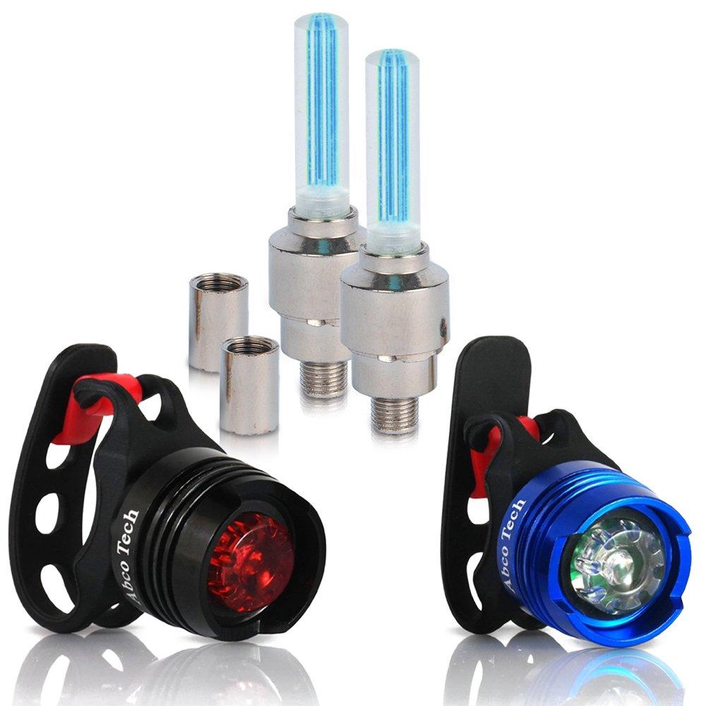 バイクライト - フロント & リア アルミニウム LED バイクライトセット - バルブ ホイール ライト x2 - 防水性 高負荷 多目的 リア バイクライト 自転車用 x2 (インポート)  ブルー B00V5G6UEI
