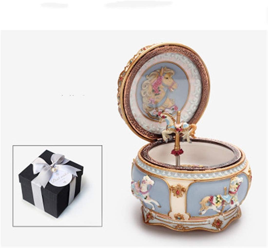 HENGTONGWANDA ガール姫カルーセルオルゴール少女ギフトトロイの木馬オルゴールホームデコレーション (Color : Gift box, Style : 1)