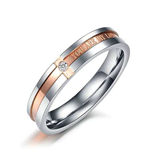 "KNSAM Anillo Acero Inoxidable Titanio, Anillo Compromiso ""You Are My Love"" Oro"