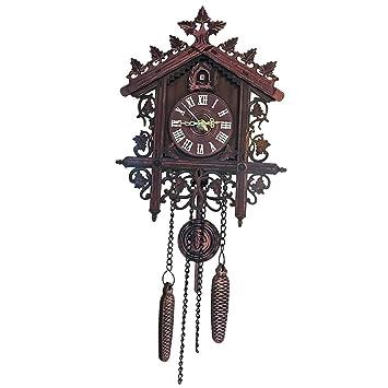 B Blesiya Mecanismo Reloj de Pared Digital Retro de Madera Horario Puntual Ornamentos Hogar Oficina - 1: Amazon.es: Hogar