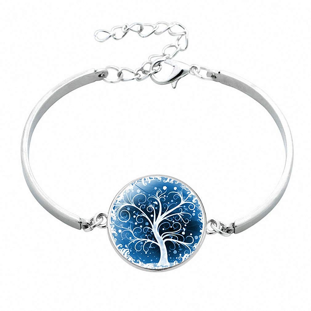 Giwotu Womens Fashion Life Tree Glass Cabochon Statement Silver Color Bangle Glass Cabochon Bracelet Women Kids Silver Color Jewelry 12017110