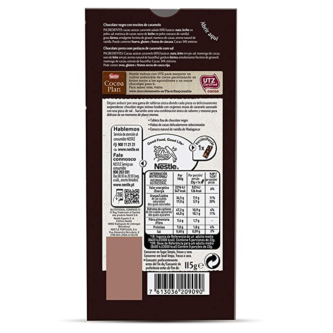 Nestlé Les Recettes de Atelier Tableta Chocolate Negro y Caramelo al Punto de Sal - 115 gr: Amazon.es: Alimentación y bebidas
