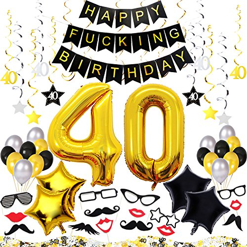 40th Birthday Decorations Kit 77 Pieces - Happy Fcking Birthday Banner, 40-Inch 40 Gold balloons, Sparkling Hanging Swirls, Photo Booth Props, Confetti for Table Decorations, Birthday Plan Checklist
