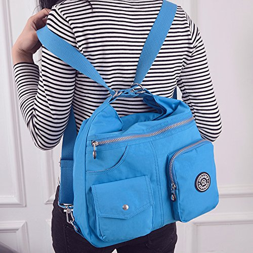 Girls Backpack Travel Nylon For Blue Body Side Handbag Outreo Women Bag Satchel Messenger Two Sport Cross Shoulder Crossbody Casual f4wRd8qxR