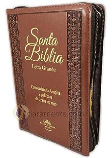 Biblia Letra Grande Tamaño Manual con Cierre Imitacion Piel Marron con Concordancia e Index Reina Valera