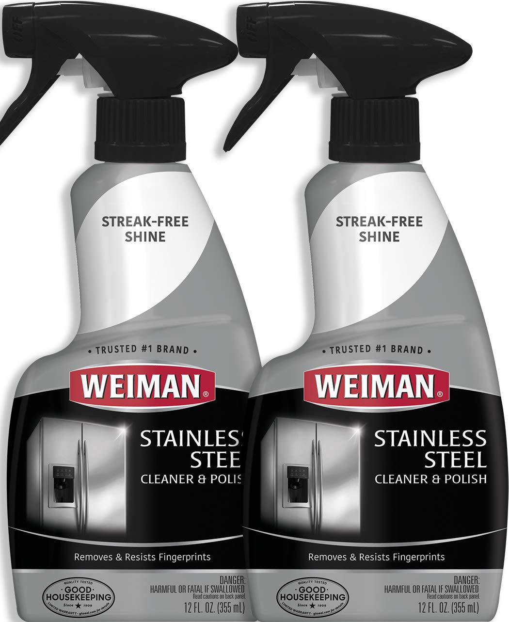 Weiman Stainless Steel Cleaner and Polish - 12 Ounce (2 Pack) - Removes Fingerprints, Residue, Water Marks and Grease from Appliances - Refrigerators Dishwashers Ovens Grills - 24 Ounce Total by Weiman