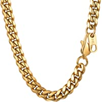 PROSTEEL 6MM Curb Cuban Chain Necklace for Mens Jewelry,18'20'22'24'26'28'30 inch, 316L Stainless Steel/ 18K Gold Plated/Black Color (Send Gift Box)