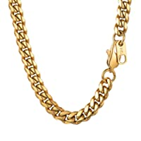 PROSTEEL 6MM Curb Cuban Chain Necklace for Mens Jewelry,18'20'22'24'26'28'30 inch, 316L Stainless Steel/ 18K Gold Plated/Black Color, (Send Gift Box)
