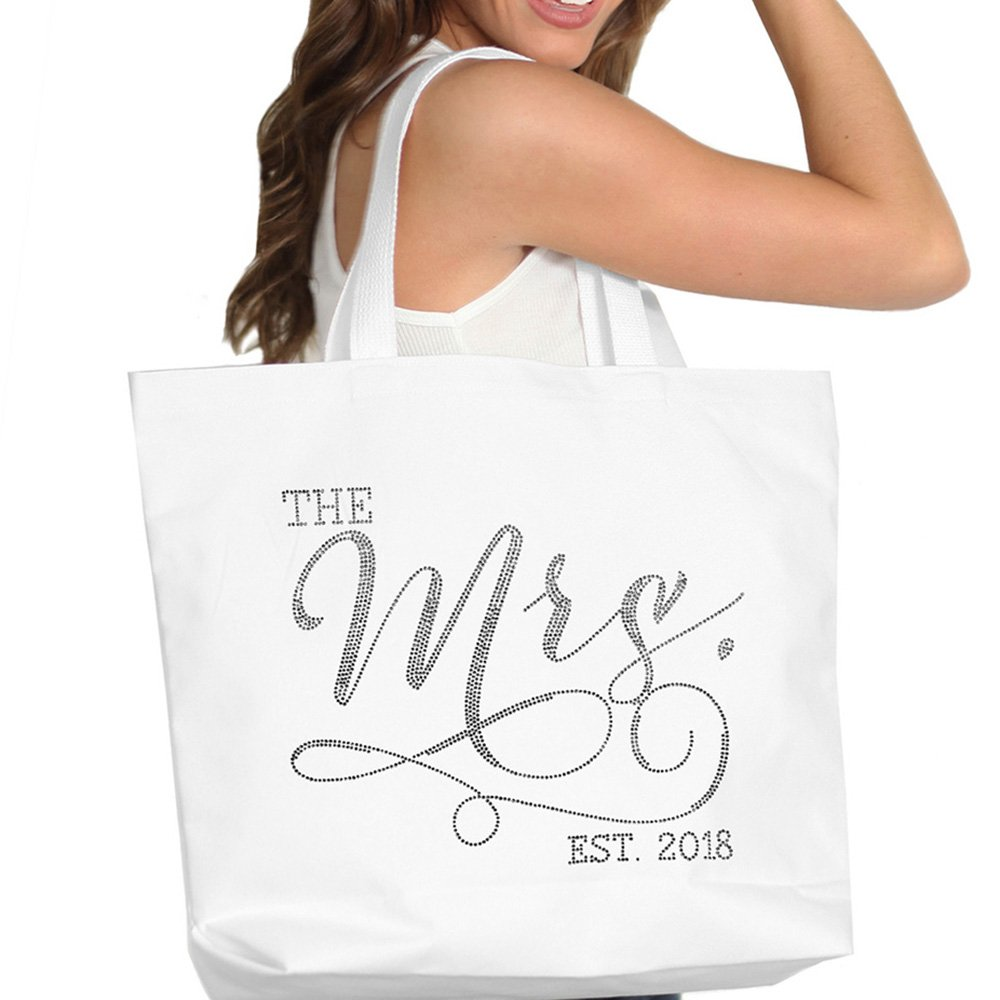 The Mrs. EST 2018 White Rhinestone Jumbo Canvas Bridal Tote Bag For the Bride to Be Tote(Mrs 2018 RS) WHT