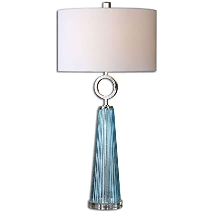 Uttermost 27698 1 Navier Glass Table Lamp, Blue