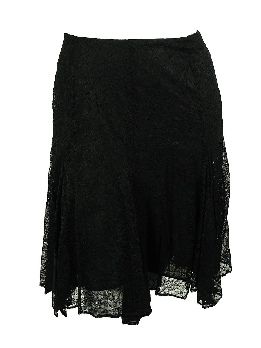 Ralph Lauren Women's Lace Handkerchief Hem Skirt (18W, Black)