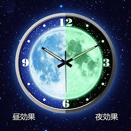 綿花世界 おしゃれな月球! 壁掛け時計 ユニーク 全面蓄光ウォールクロック(音がない) B01EN0P8FO銀色枠