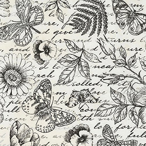 arden Journal Butterfly Toile Positive Cream Fabric By The Yard (Garden Toile Fabric)