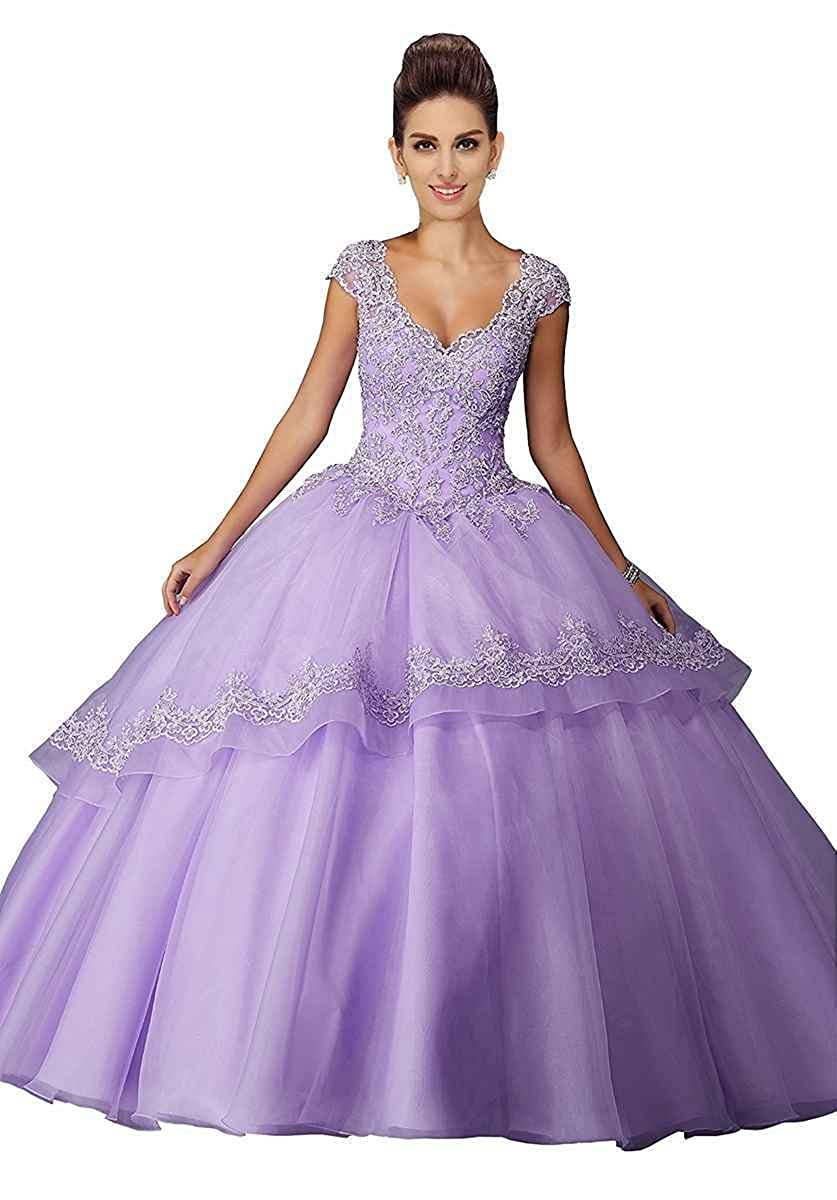 Lavender LastBridal Women Lace Appliques V Neck Cap Sleeves Ball Gown Sweet 15 Quinceanera Dresses LB0179
