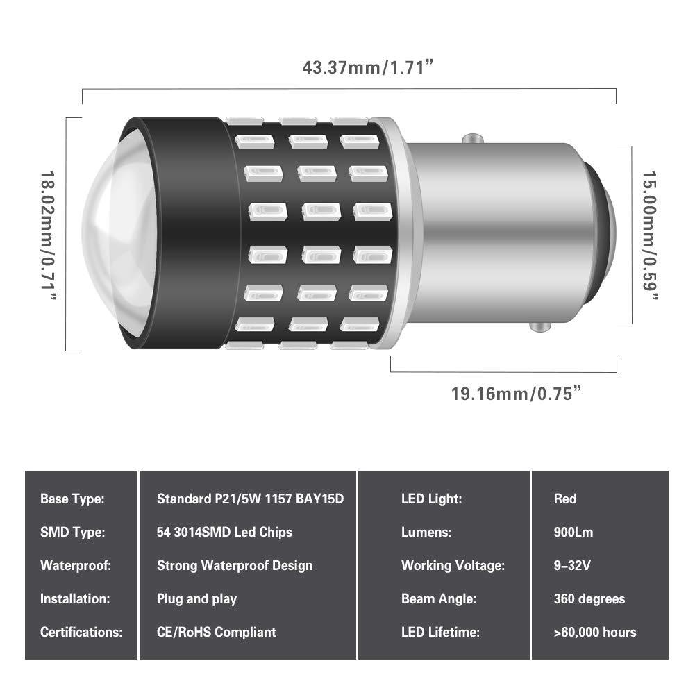 NATGIC 1156 BA15S 1095 7506 LED Bulbs Extremely Bright 3014SMD 54-EX Chipsets with Lens Projector for Backup-light Reverse Lights,Xenon White 12-24V Brake light Tail light 2-Pack
