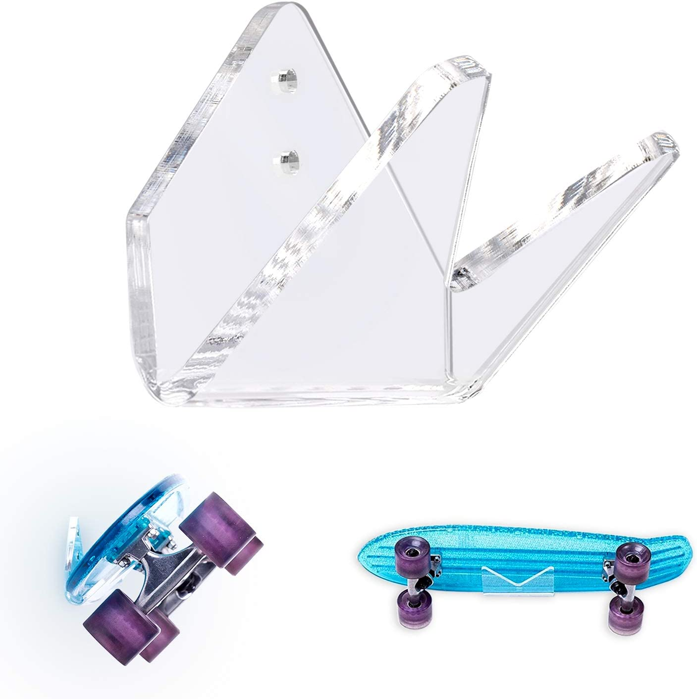 Snowboards Skis TOBWOLF Skateboard Wall Mount Display Rack Clear Acrylic Wall Hanger Bracket Invisible Storage Holder for Longboard Water Skis and Electric Skateboard Triangular