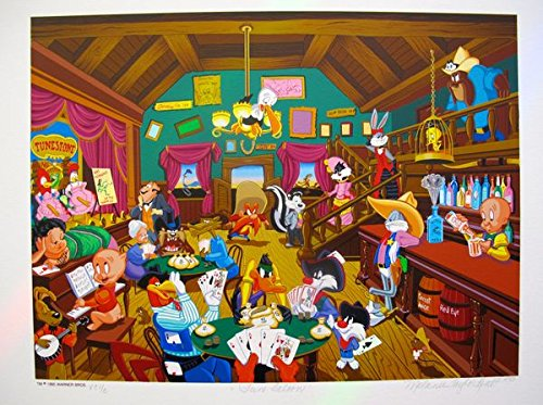 Art by Melanie Taylor Kent Tune Saloon Hand Signed Serigraph Print. After the Original Painting or Drawing. Looney Tunes Paper 12 Inches X 16 Inches