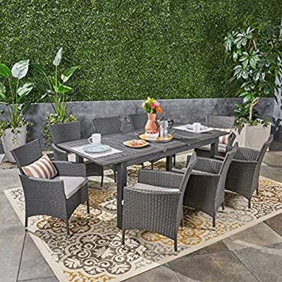 Great Deal Furniture Austin Outdoor 9 Piece Wood and Wicker Expandable Dining Set, Dark Gray and Gray and Silver - If you're going to invest in a fine place for you and your loved ones to dine outdoors, you may as well allow room for your family to grow. This expandable dining set seats eight and the adjustable table allows you to customize its dimensions to accommodate not only new friends and relatives but also larger meals and other activities that may call for just a bit more space. Includes: One (1) Dining Table and Eight (8) Chairs. Table Material: Acacia Wood. Chair Material: Polyethylene Wicker. Chair Frame Material: Iron. Cushion Material: Water Resistant Fabric. Composition: 100% Polyester. Table Finish: Gray. Wicker Finish: Dark Gray. - patio-furniture, dining-sets-patio-funiture, patio - 617bJeakcHL. SS400  -