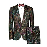 MAGE MALE Men's 2-Piece Fish/Leopard Floral Printed One Button Notch Lapel Wedding Blazer Pants Sets (S, Pattern Type-Flake)