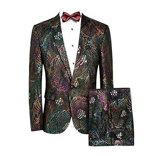MAGE MALE Men's 2-Piece Fish/Leopard Floral Printed One Button Notch Lapel Wedding Blazer Pants Sets (M, Pattern Type-Flake)