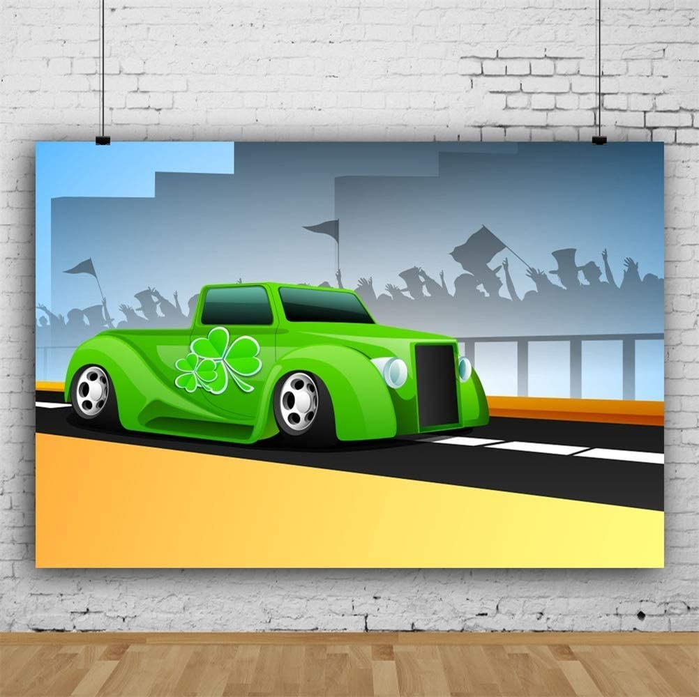 Polyester 8x6.5ft St.Patricks Day Photography Backdrops Green Car Clover Lucky Shamrock Cheering Crowds Sketch Road Guardrail Background Irish Traditional Festival Child Adult Photo Studio