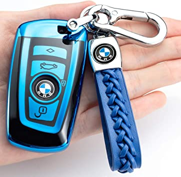 Model-A KVR for BMW Key Fob Cover,Compatible with BMW 1 2 3 4 5 6 7 Series X3 X4 M5 M6 GT3 GT5 Full Protection Soft TPU Key Case only for Keyless go Red