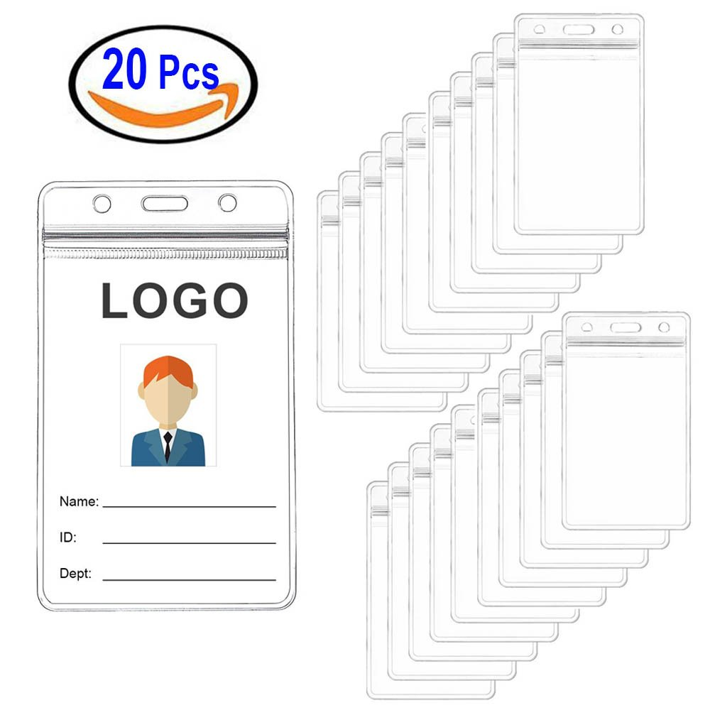 20pcs ID Nombre de titular de tarjeta plástico transparente trabajo escolar