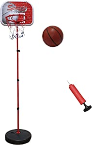 Macro Giant Portable Basketball Hoop Stand, with 1 Inflatable Ball, Indoor Outdoor Garden Game for Kids, Families