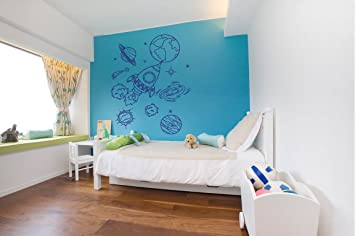 Amazon Com Wall Decal Sticker Bedroom Solar System Space Rocket Stars Planets Earth Kids Boys Teenager Room 427b Baby